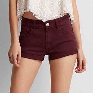 American Eagle Hi-Rise Shortie Shorts Maroon 0